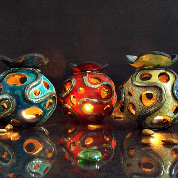 Essential Oil Diffuser and Luminary - Candle holder raku Aromatherapy Diffuser