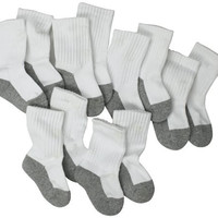 Jefferies Socks, Llc Unisex-baby Newborn 6 Pack Seamless Sport Half Cushion Crew Socks, White/Grey, 12-24 Months