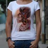 Designer T-shirt, Woman T-shirt, Afro woman,  Feminist t-shirts, Picture print, Original drawing