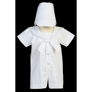 Nautical Sailor Christening Romper Outfit White Poly Cotton (Baby Boys Newborn - 24 months)