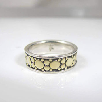 John Hardy Band Ring, 18K Yellow Gold Sterling Silver, John Hardy Dot Collection Retired Band, Size 7.50 6.6mm wide, Unisex Wedding Band
