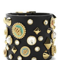 Gold Multi Stud And Charm Leather Cuff by Juicy Couture, O/S