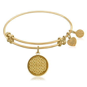 Expandable Bangle in Yellow Tone Brass with Sacred Geometry Flower Of Life