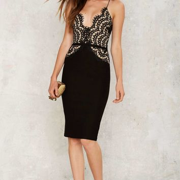 Lace For Words Plunging Dress