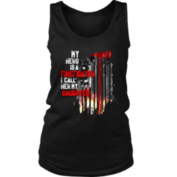 Women's Thin Red Line American Flag Firefighter Daughter Tank Top