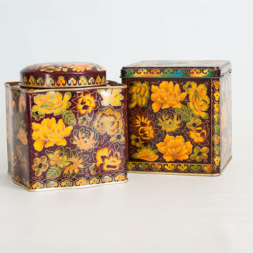 Vintage Daher Printed Tea Tins, Biscuit Jars, Made in England, Maroon Yellow Fall Color Tin Storage Boxes (Pair)
