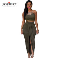 SEBOWEL 2017 Hot Two Piece Set Maxi Dress Club Wear High Split Draped Pleated Long Dress Summer Sexy Women Dresses LC60833