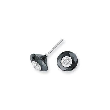 14K White Gold 4.00ct. Black and White Diamond Stud Earrings AAA Quality
