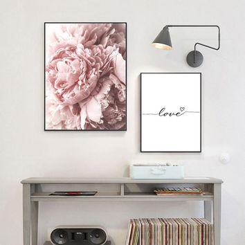 SURE LIFE Nordic Romantic Pink Peony Love Heart Poster Canvas Paintings  Wall Art Pictures For Living Room Home Decorations