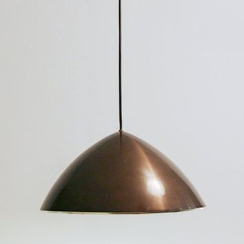 Vintage Danish Brushed Aluminium Copper Brown Pendant Lamp