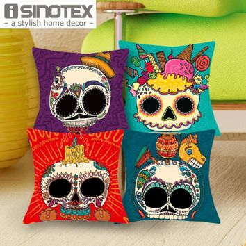 1 Pcs 43*43cm Cute Color Suger Skull Cushions Linen Cushion Cover The Mexico Day of the Dead Throw Pillow For Living Bed Room