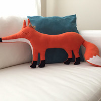 Mrs Fox cushion (fox shaped cushion, soft toy)