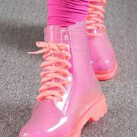 Pink ankle rain boots from 2NDAPRIL