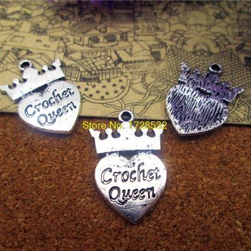 15pcs-- 16*25mm antique silver one side crochet  queen Charms  DIY Charms Pendants