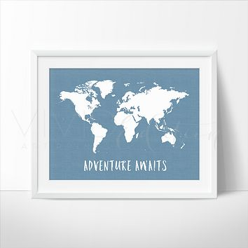 Adventure Awaits World Map, Blue