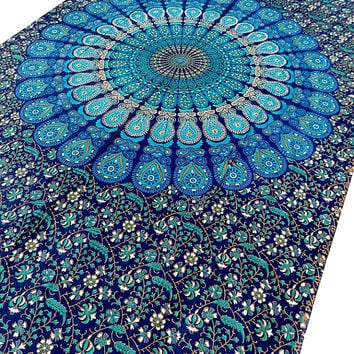 Twin Mandala Blue Hippie Tapestry Wall Hanging Indian Bohemian Bedding Bedspread Cover Throw Gypsy Boho Hobo Ethnic Home Decor-FREE SHIPPING