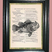 Deep Sea Bug-Eyed Fish - Vintage Dictionary Book Page Art Print, Upcycled Page Art Print on Dictionary Page, Fish Print