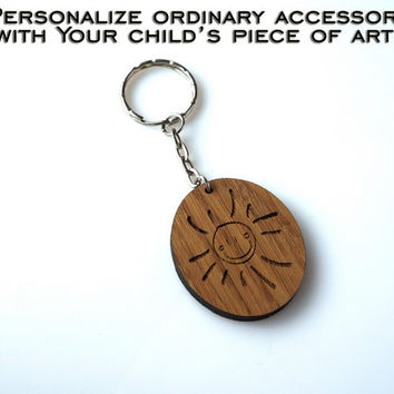 Your Child's Drawing Sun Personalized Sketch Keychain Child's Art Engraved Kid Art Handwriting Gift for Grandparents Mothers Day Fathers Day