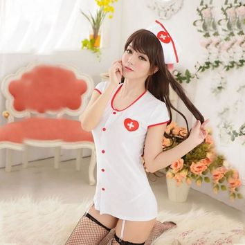 Sexy Uniform Cosplay Adult Costume Women's Lingerie Set with Garters White
