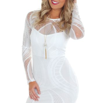 Long Sleeve Lace Bodycon White