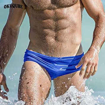 OKUQUBE 2018 New Sexy Boxer Swimwear Nylon Solid Swimming Trunks Low Waist Swimsuit Elastic Surfing Briefs XL Beachwear For Men
