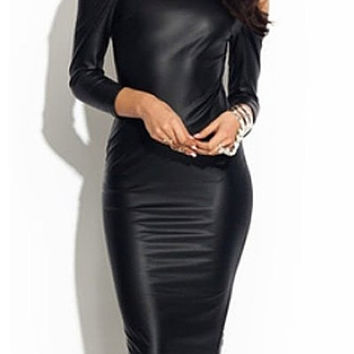 Black Leather Cut-Out Backless Sheath Dress