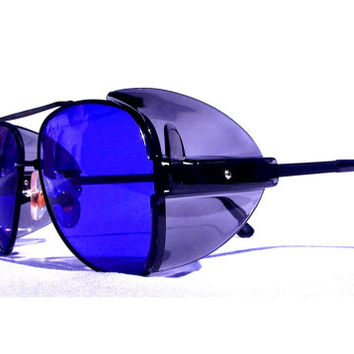 Cobalt Aviator Sunglasses, Vintage Aviators, Blue Pilots Safety Glasses, Flight Shades