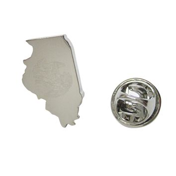 Illinois State Map Shape and Flag Design Lapel Pin
