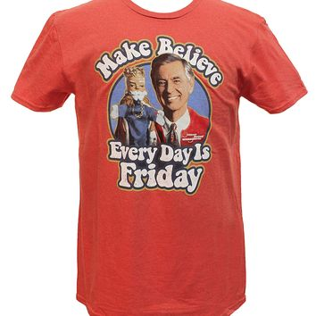 Mister Rogers Neighborhood Make Believe Every Day is Friday Distressed Graphics Men's T-shirt