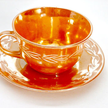 vintage fire king anchor hocking Demitasse Shell Peach Lustre Cup and Saucer Tea Coffee antique tea set retro tea set