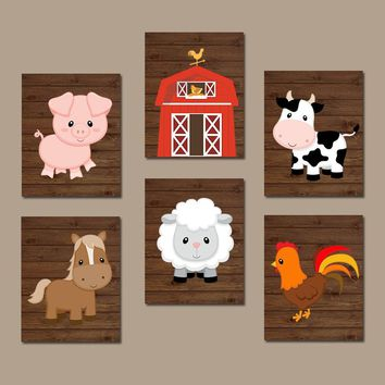 FARM Animals Wall Art, Canvas or Prints, Farm Nursery Decor, Rustic Farm Baby Boy Nursery Wall Art, Western Boy Bedroom Pictures, Set of 6