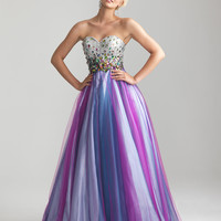 Purple Multi Rhinestone & Tulle Strapless Sweetheart Prom Gown - Unique Vintage - Cocktail, Pinup, Holiday & Prom Dresses.