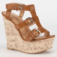 Diva Lounge Chic Womens Gladiator Wedges Cognac  In Sizes
