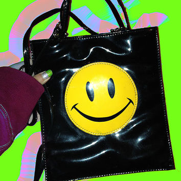 90s Black sMiLeY Bag Shiny Yellow Smiley Face Purse Hand Tote 2 lengths of straps