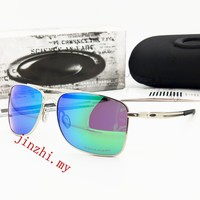 Oakley sunglasses 4124 polarized outdoor Driving glasses silver frame,green lens