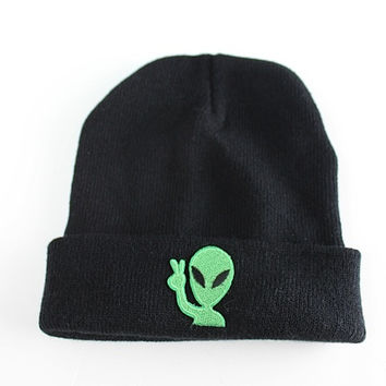 Peace Out Alien Black Beanie