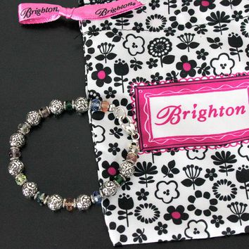 Pretty Brighton Rainbow Bracelet Silver Color Beads Multi Color Crystals