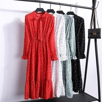 2019 Spring Autumn Women's Chiffon Dresses Stand Neck With Bow Floral Print Ruffles Vestido Long Sleeve Elegant Cute Dress S-XL