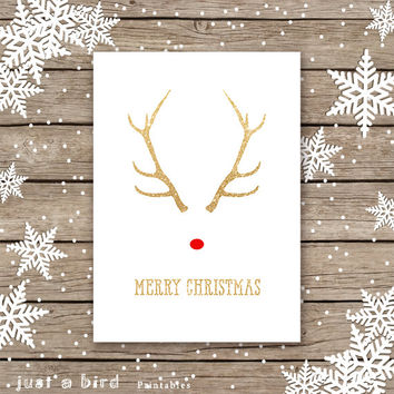5x7 printable christmas card, gold deer antlers, gold glitter, Rudolf the red nosed, gold Christmas card, Merry Christmas, INSTANT DOWNLOAD
