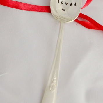 you are loved - Hand Stamped Spoon - coffee spoon and tea by samirahcollections