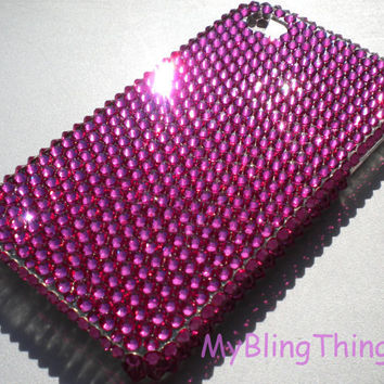 HOT PINK Fuchsia Crystal Diamond Rhinestone BLING Back Case for Apple iPhone 4 4G 4S made with Swarovski Elements
