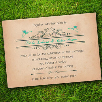 DIY Printable - Vintage Victorian Classic Edwardian Angels Turquoise Customizable Wedding Invitation Card
