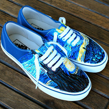 Hand Painted Starry Night Navy Vans Authentic