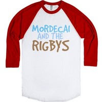 Mordecai And The Rigbys-Unisex White/Red T-Shirt