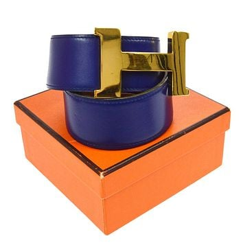 100% Auth HERMES Vintage Jumbo H Buckle Constance Belt Leather Blue #78 V20010