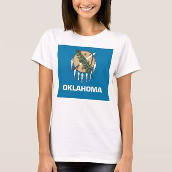 Women T Shirt with Flag of Oklahoma State