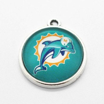 New Arrival 10pcs/lot Miami Dolphins Football Team Dangle Charms Hanging Charm DIY Bracelet&Bangles Jewelry Accessory