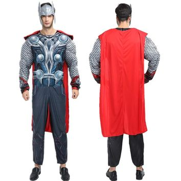 Cosplay Genuine Avengers Movie adult  muscle Avenger Thor costume party clothes Marvel Superheroes cape Fancy Jumpsuit for men
