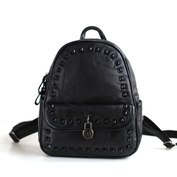 Leather Korean Backpack Mosaic England Style Casual Rivet Lock [6049527937]
