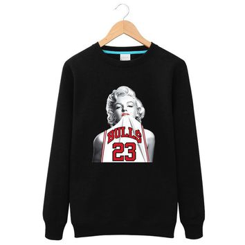 2016 New Winter Long Sleeves Marilyn Monroe Wearing Michael Jordan 23 Round Neck sweat